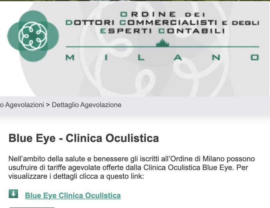 Attivata La Convenzione Oculistica Con Odcec Milano Blue Eye